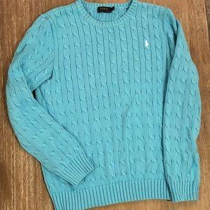 Women's Polo Aqua Blue Knit Cotton Sweater XL